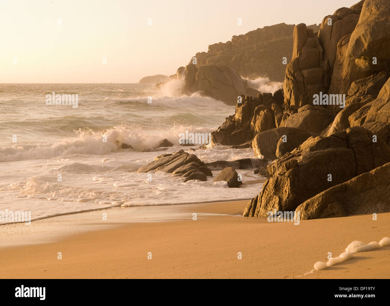 Detail of galician coast at golden hour. - Stock Image