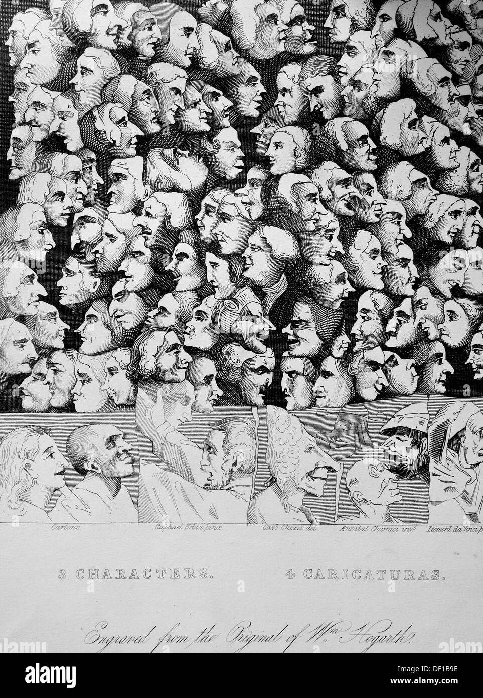 Characters and Caricatures an engraving from the original by William Hogarth. - Stock Image