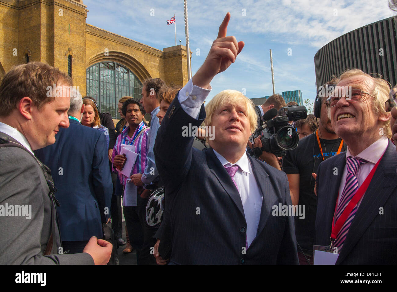 London, UK. 26th Sep, 2013. London Mayor Boris Johnson at the official opening of Kings Cross Square following the station's £550m refurbishment. Credit:  Paul Davey/Alamy Live News - Stock Image