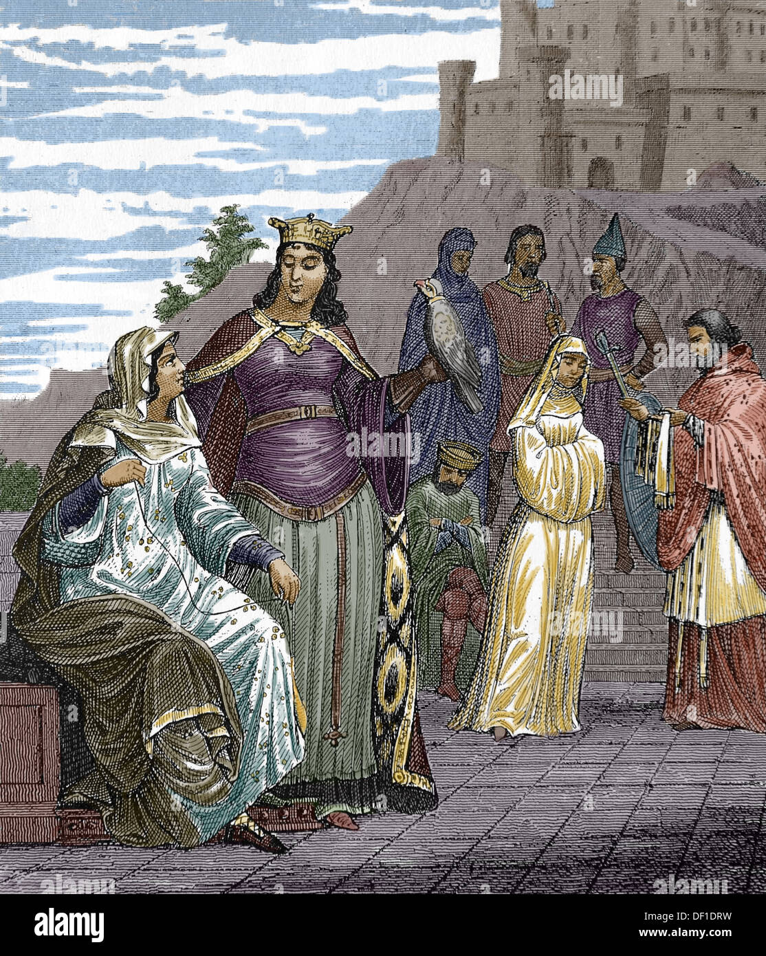 History. Middle Ages. Frankia or Kingdom of the Franks. Frankish king, queen, and princes. Engraving. (Later colouration). - Stock Image