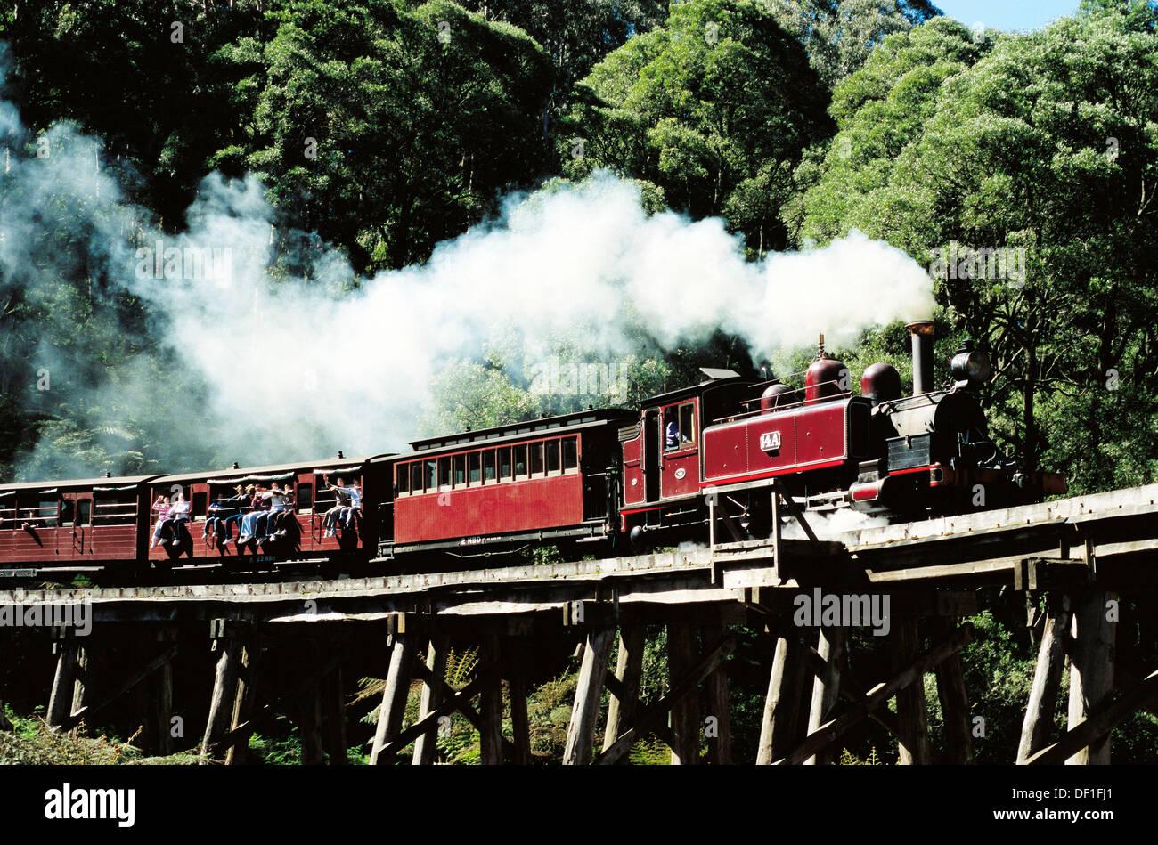 Puffing Billy, Australia´s most popular tourist stream train in Melbourne. Victoria. Australia. - Stock Image
