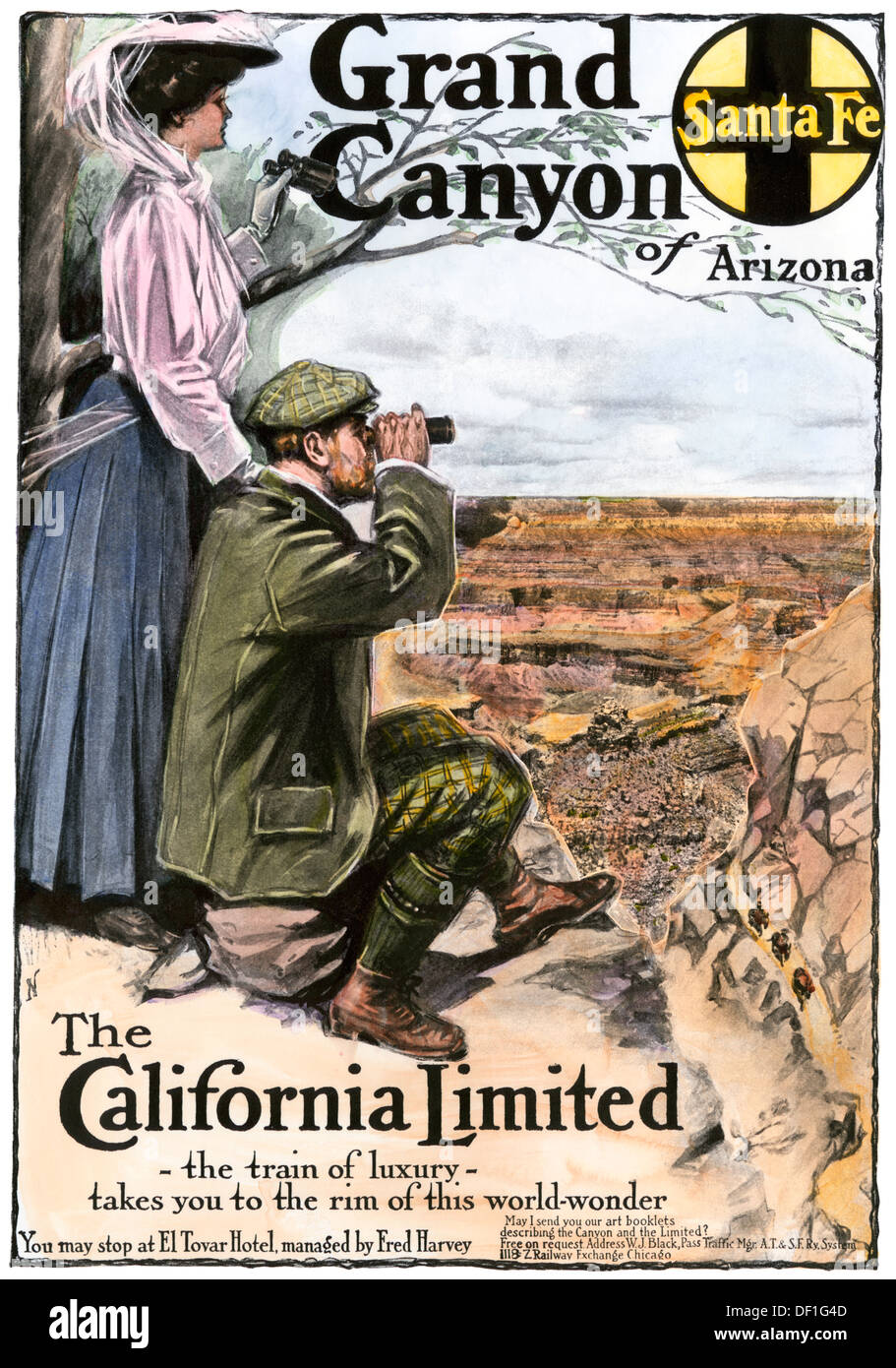 Ad for visiting the Grand Canyon aboard the 'California Limited,' Santa Fe RR, 1908. Hand-colored halftone of a printed advertisement - Stock Image