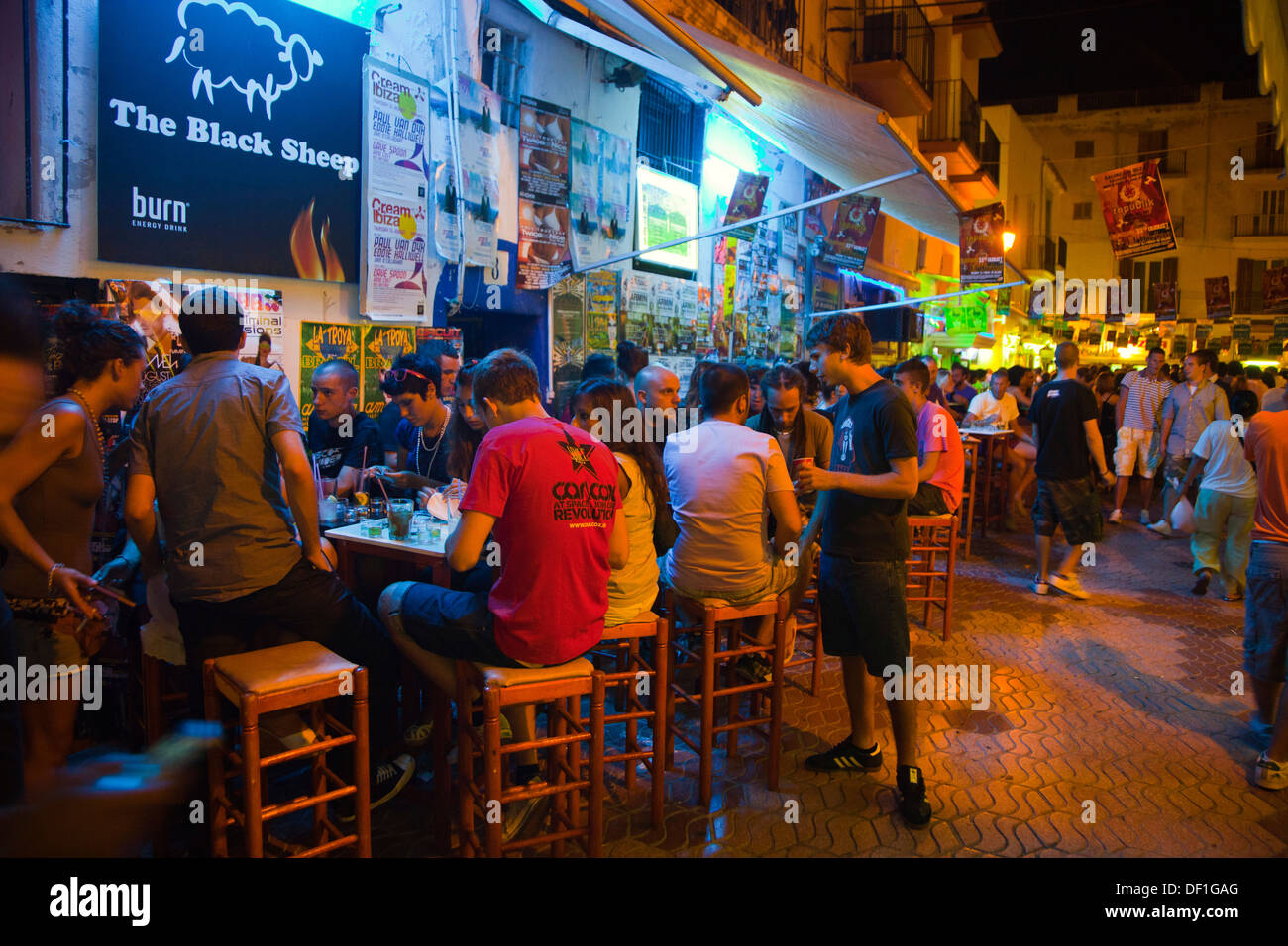 Night atmosphere in La Marina Neigbourhood. Ibiza city. Ibiza. Balearic Islands. Spain. - Stock Image