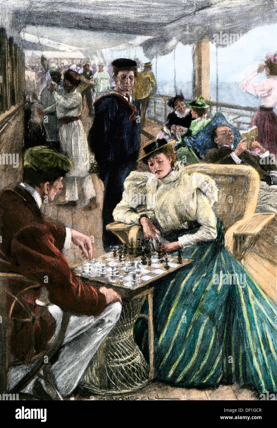 Passengers' afternoon recreation on the deck of a P & O steamship circa 1900. Hand-colored woodcut - Stock Image
