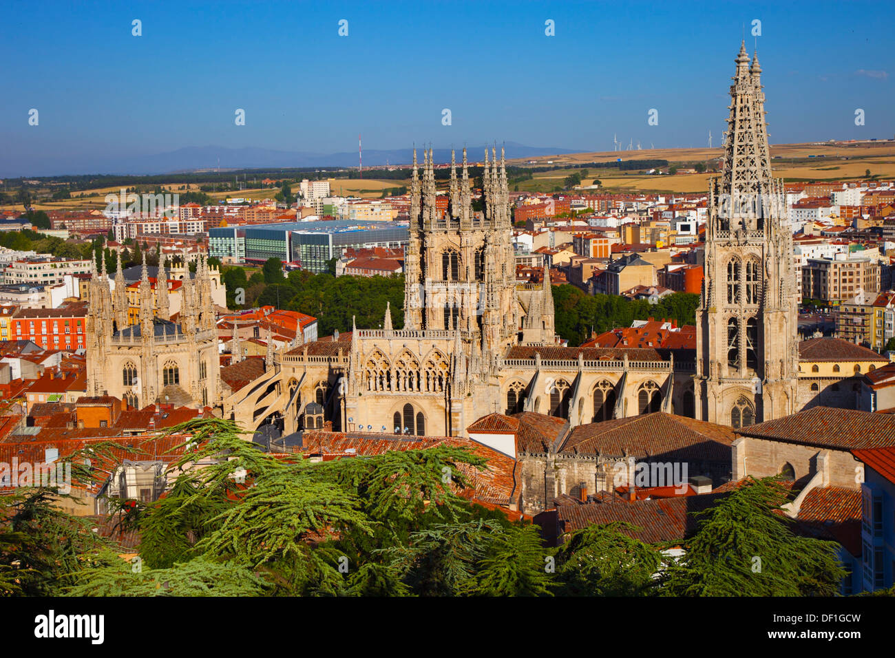 Panoramic view with the cathedral. Burgos. Castilla-Leon. Spain. - Stock Image