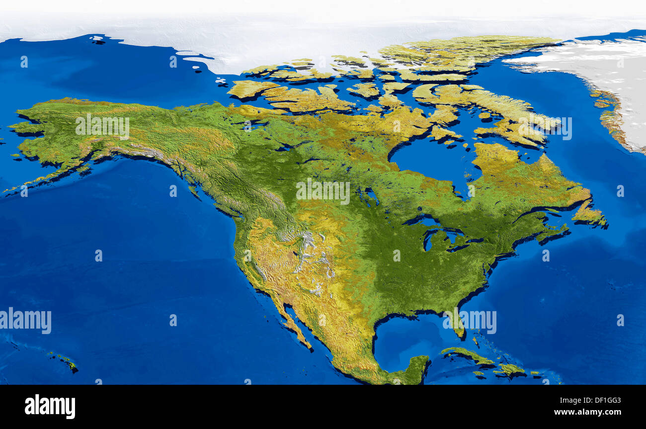 Natural Colour Satellite Image Map Of North America With Topographic
