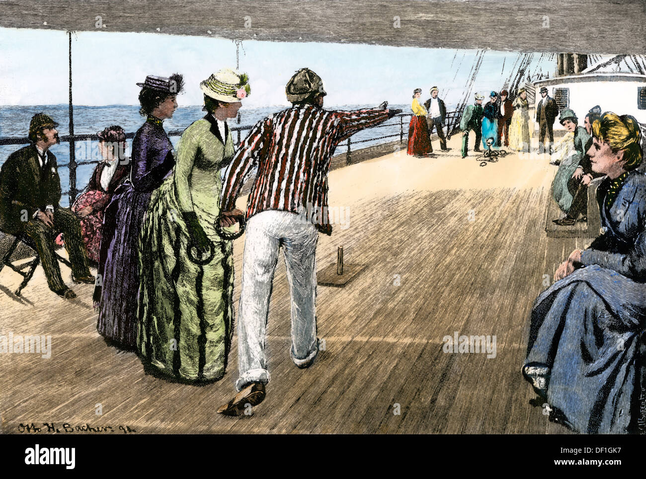 Passengers playing deck quoits on a P & O liner, 1890s. Hand-colored woodcut - Stock Image