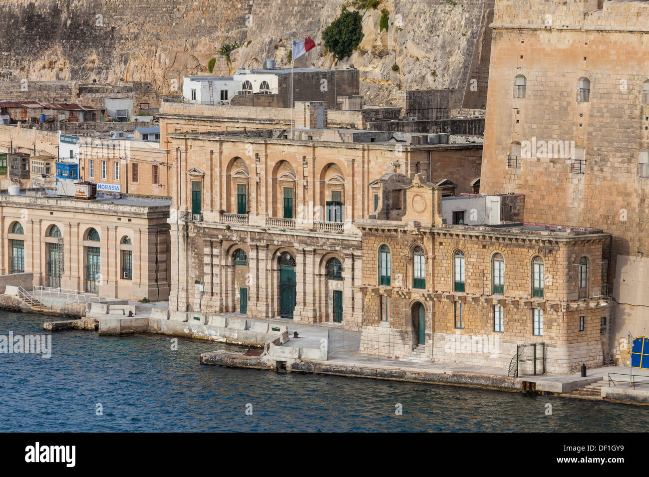Water front view from the harbor in Valletta, the Capital City of Malta. - Stock Image