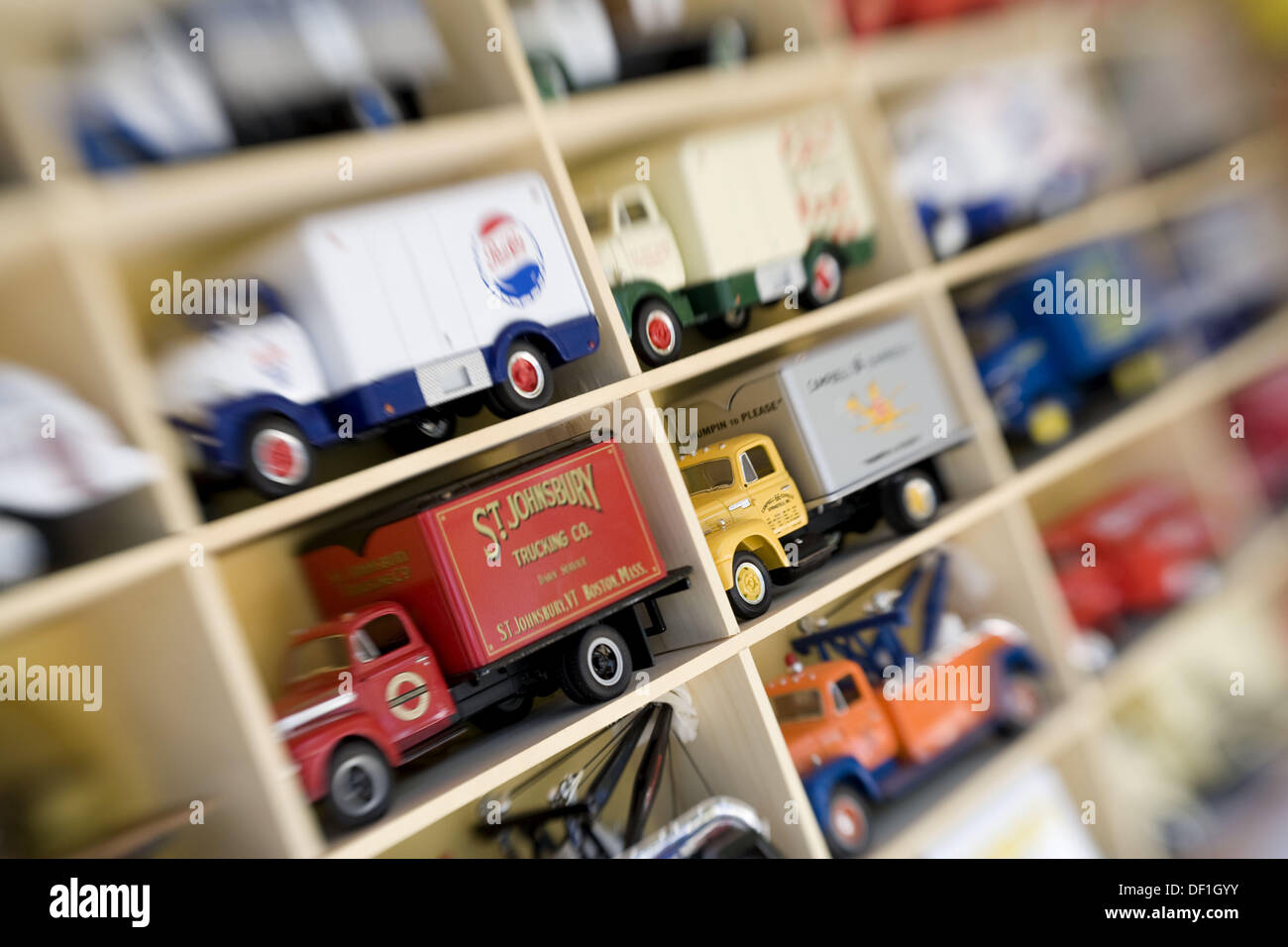 Collectible toy trucks at Antique fair, Brimfield, Usa. - Stock Image