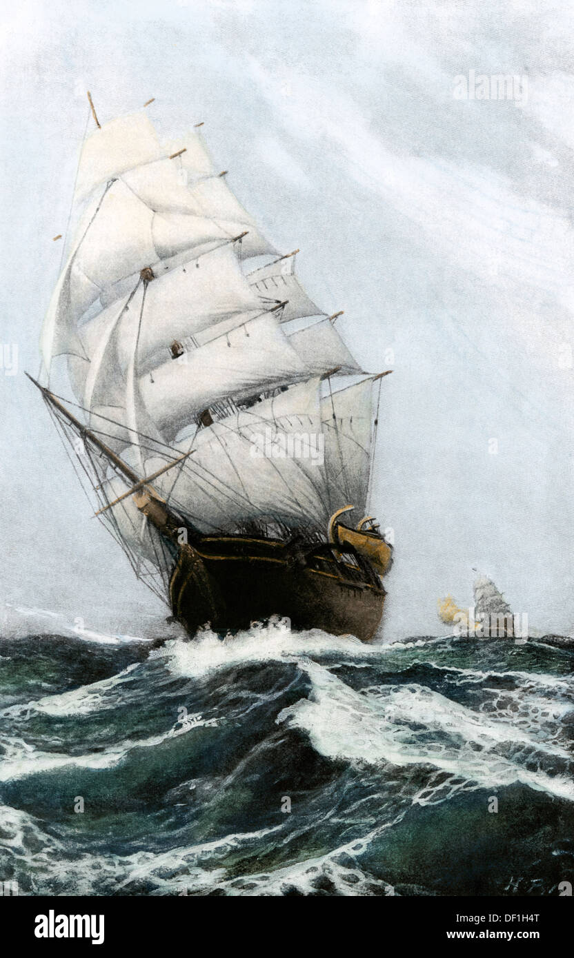 Clipper ship Caribee, famous for speed, built in Maine in 1852. Hand-colored halftone of an illustration - Stock Image