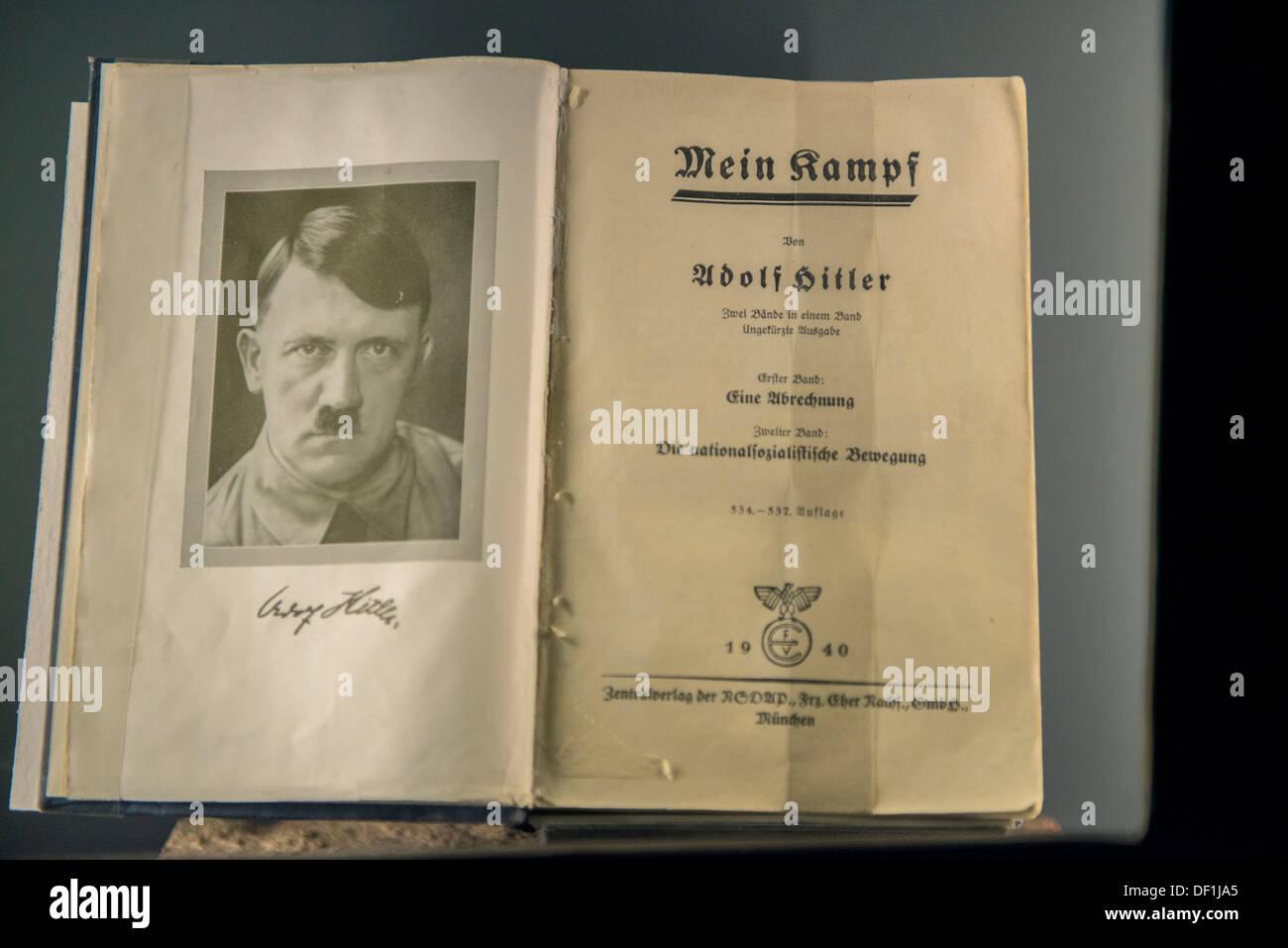 Mein Kampf on display at Documentation Centre, Nuremberg, Germany - Stock Image
