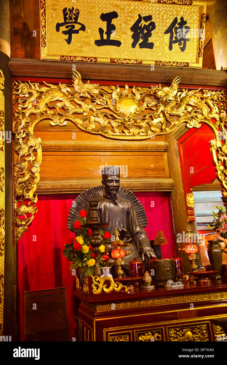 Chu Van An XIII Century,Vietnam Teacher in old Quoc Tu Giam  Literature Temple  HANOI  VIETNAM. - Stock Image