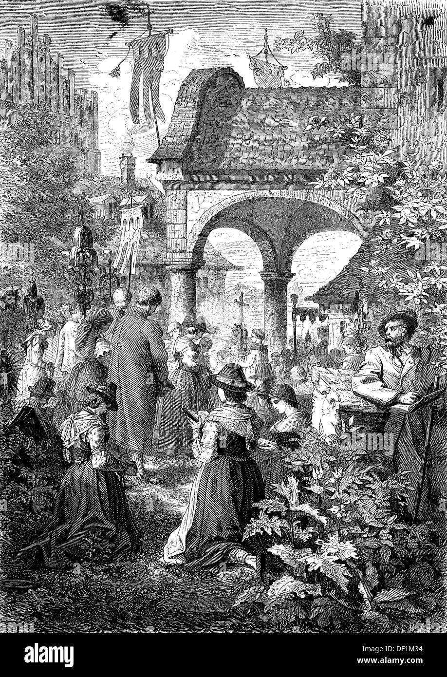 Corpus Christi procession in Brannenburg, Bavaria, Germany, woodcut from 1864 - Stock Image