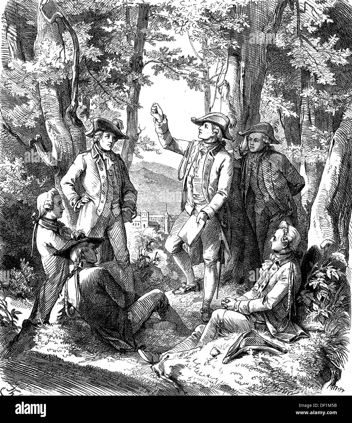 Johann Christoph Friedrich von Schiller, 1759-1805, his students reading aloud the novel 'The Robbers', woodcut from 1864 - Stock Image