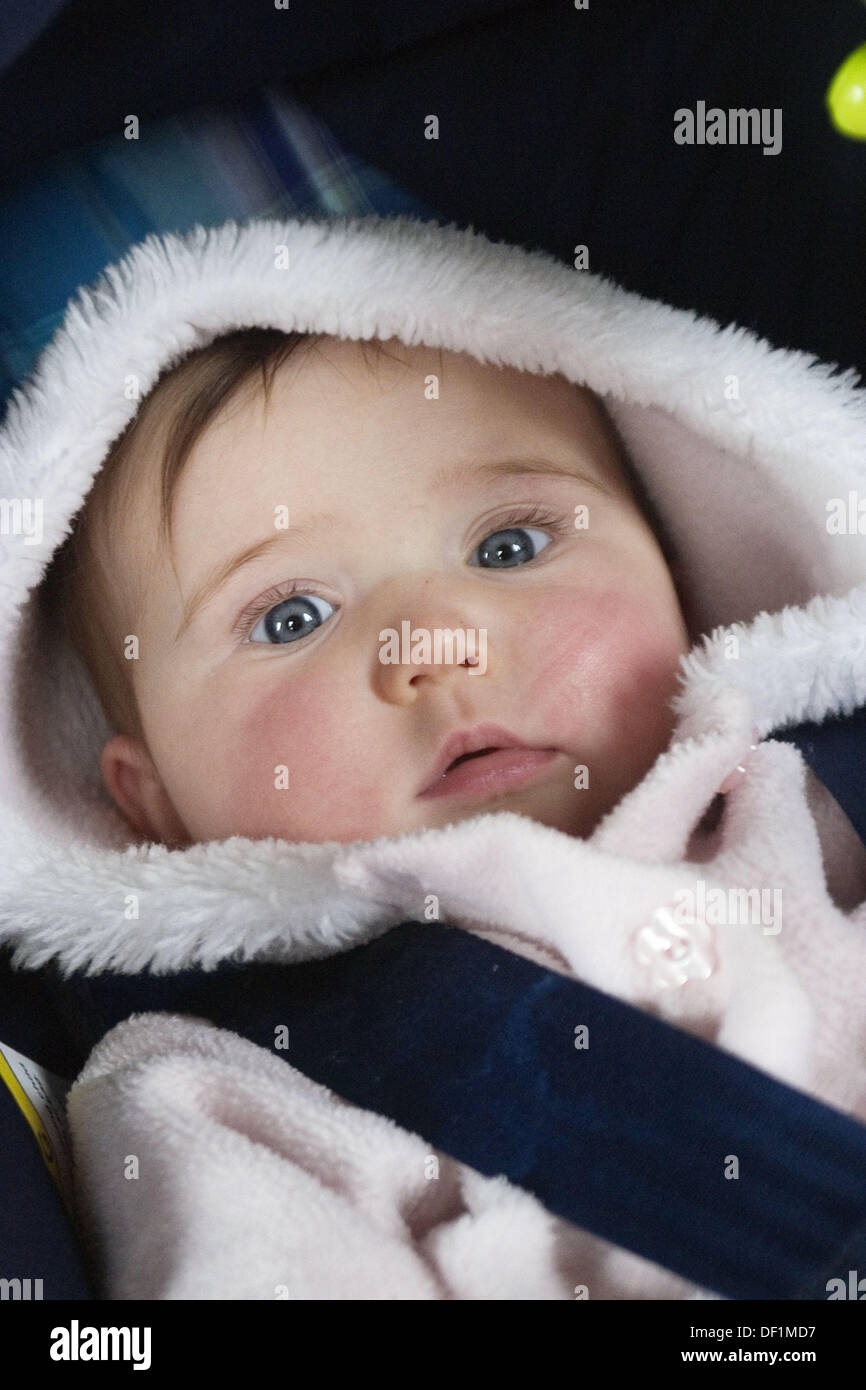 5 month old baby lying in car seat, headshot Stock Photo ...