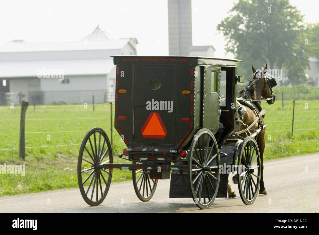 Two Amish men ride in enclosed buggy with orange triangle pulled by horse on road, viewed from behind. Arthur. Illinois, USA - Stock Image