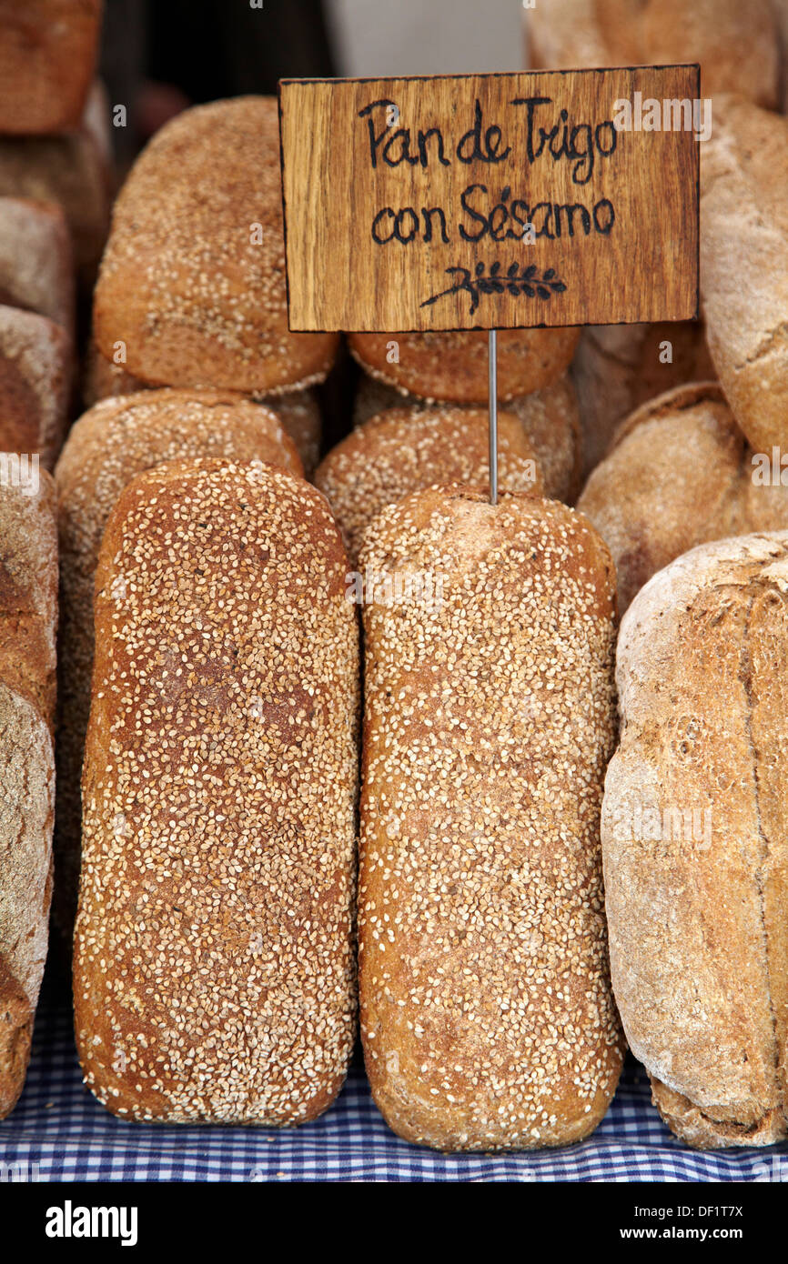 Bread, Ecological and Handicrafts Market, Plaza Mayor, Gijón  Asturias, Spain. - Stock Image
