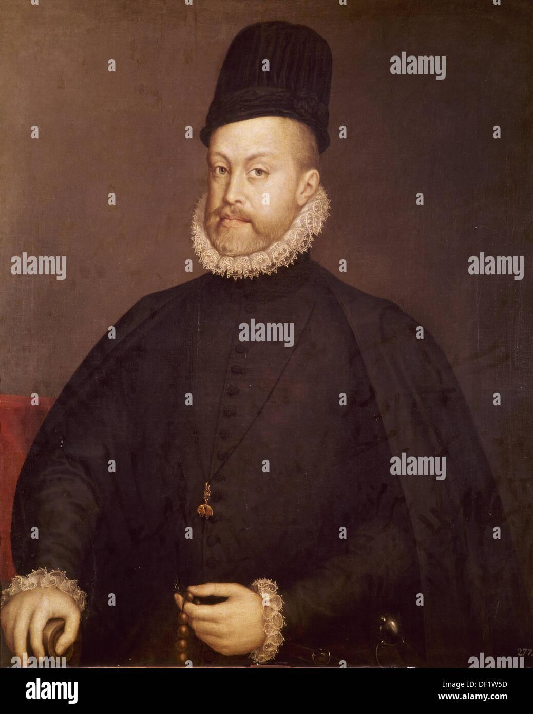 Philip II of Spain (1527-1598). Portrait by Sanchez Coello. Museum of Prado. Madrid. Spain. - Stock Image