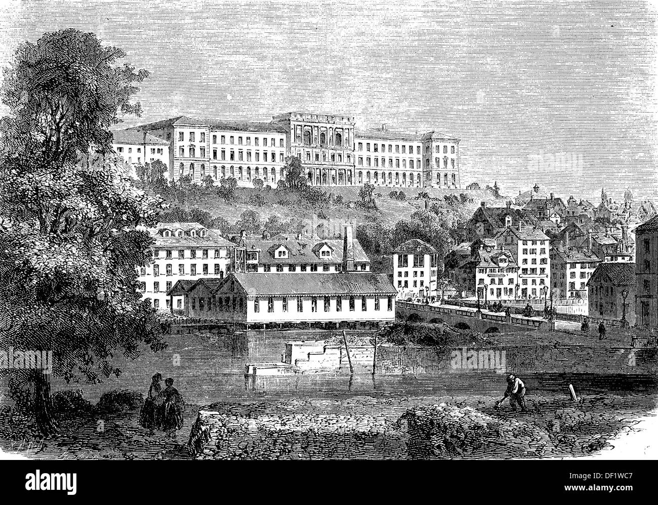 The Federal Polytechnic in Zurich, Switzerland, woodcut from 1864 - Stock Image
