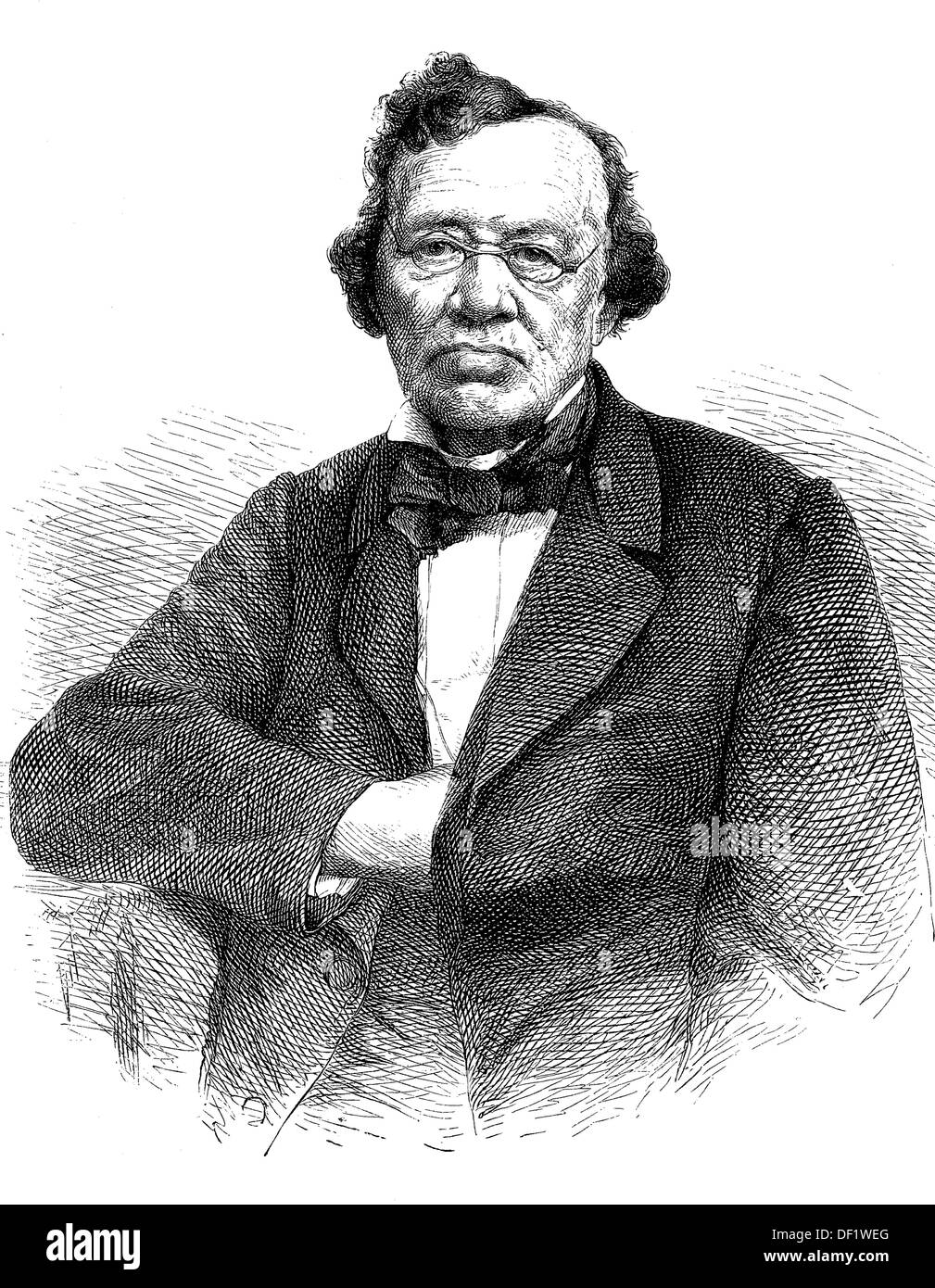 Karl Theodor von Küstner, 1784-1864, was a royal Bavarian Privy Councillor and Court Theatre artistic director., Woodcut from 18 - Stock Image