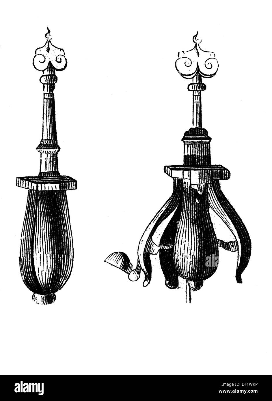 The choke pear (or pear of anguish) is the modern name for a type of instrument displayed in some museums, consisting Stock Photo