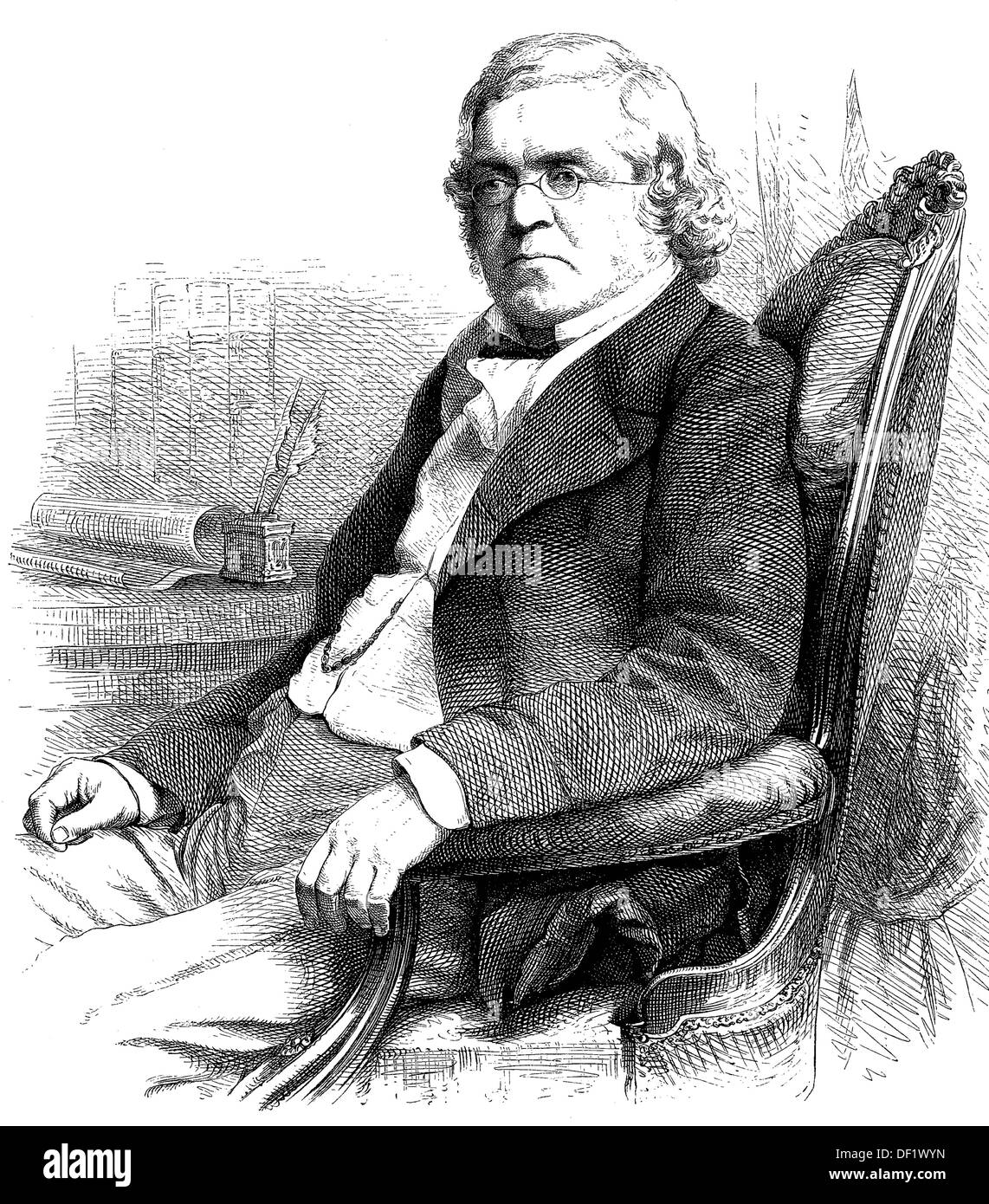 William Makepeace Thackeray, 1811-1863, was an English writer, woodcut from 1864 - Stock Image