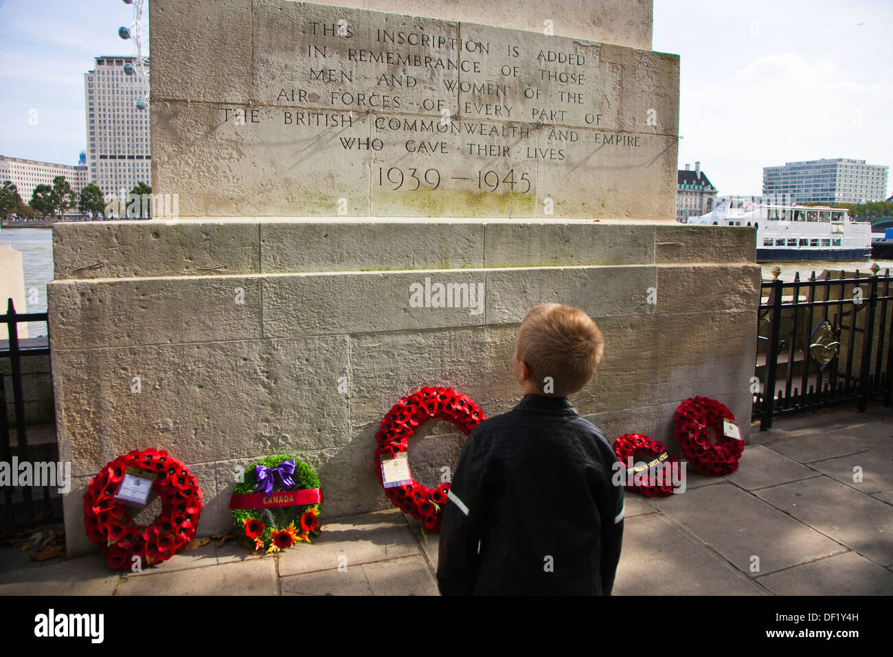 Inscription added in remembrance of those men and women of the Air Forces of every part of the British Commonwealth - Stock Image
