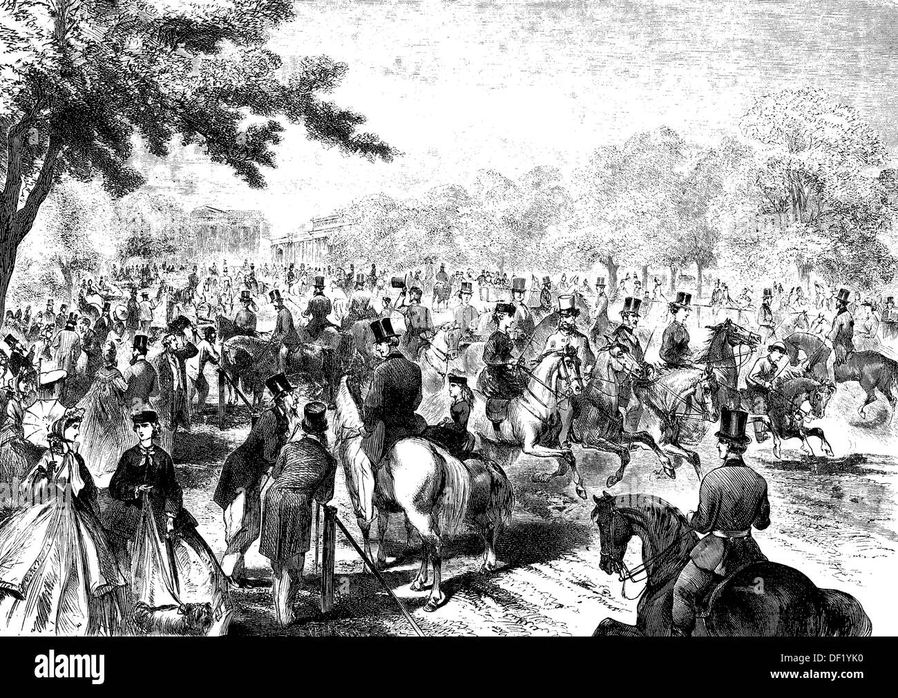 The Amazon Corso of Rotten Row in Hyde Park, Londen, woodcut from 1864 - Stock Image