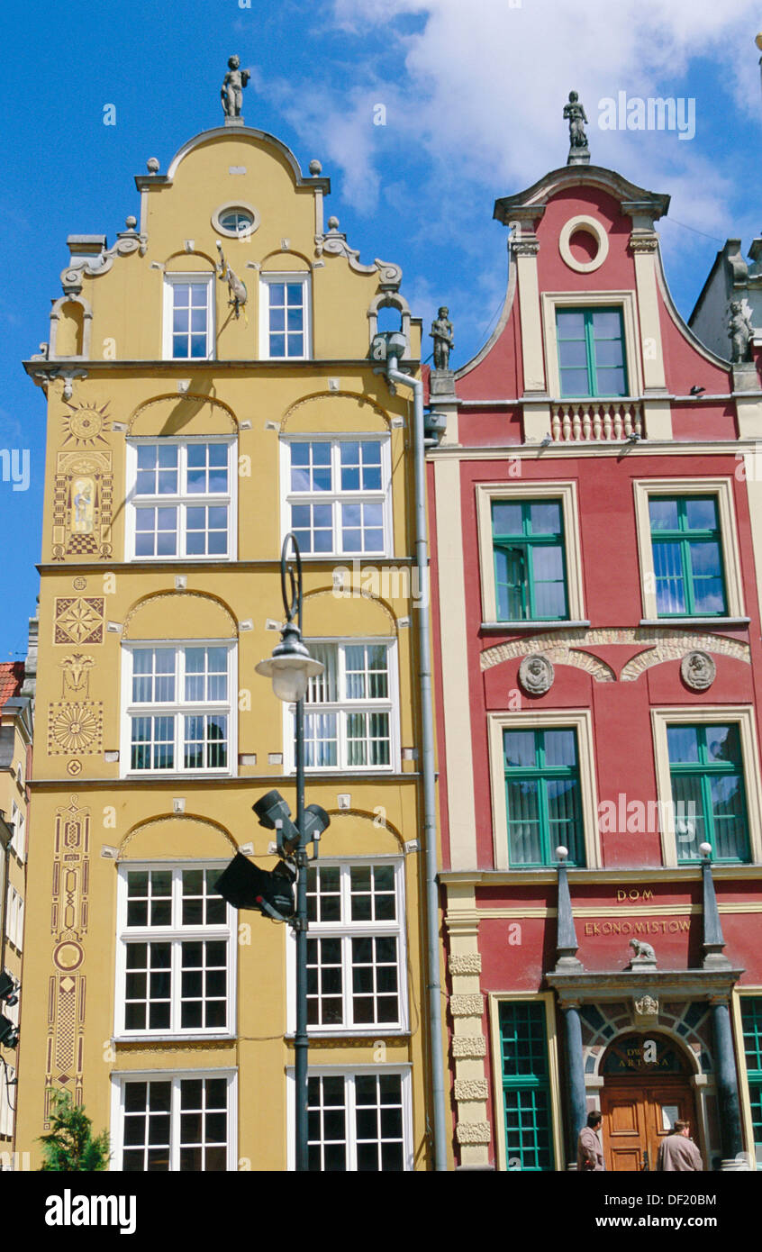 Buildings in Dlugi Targ Street. Gdansk. Pomerania. Poland - Stock Image