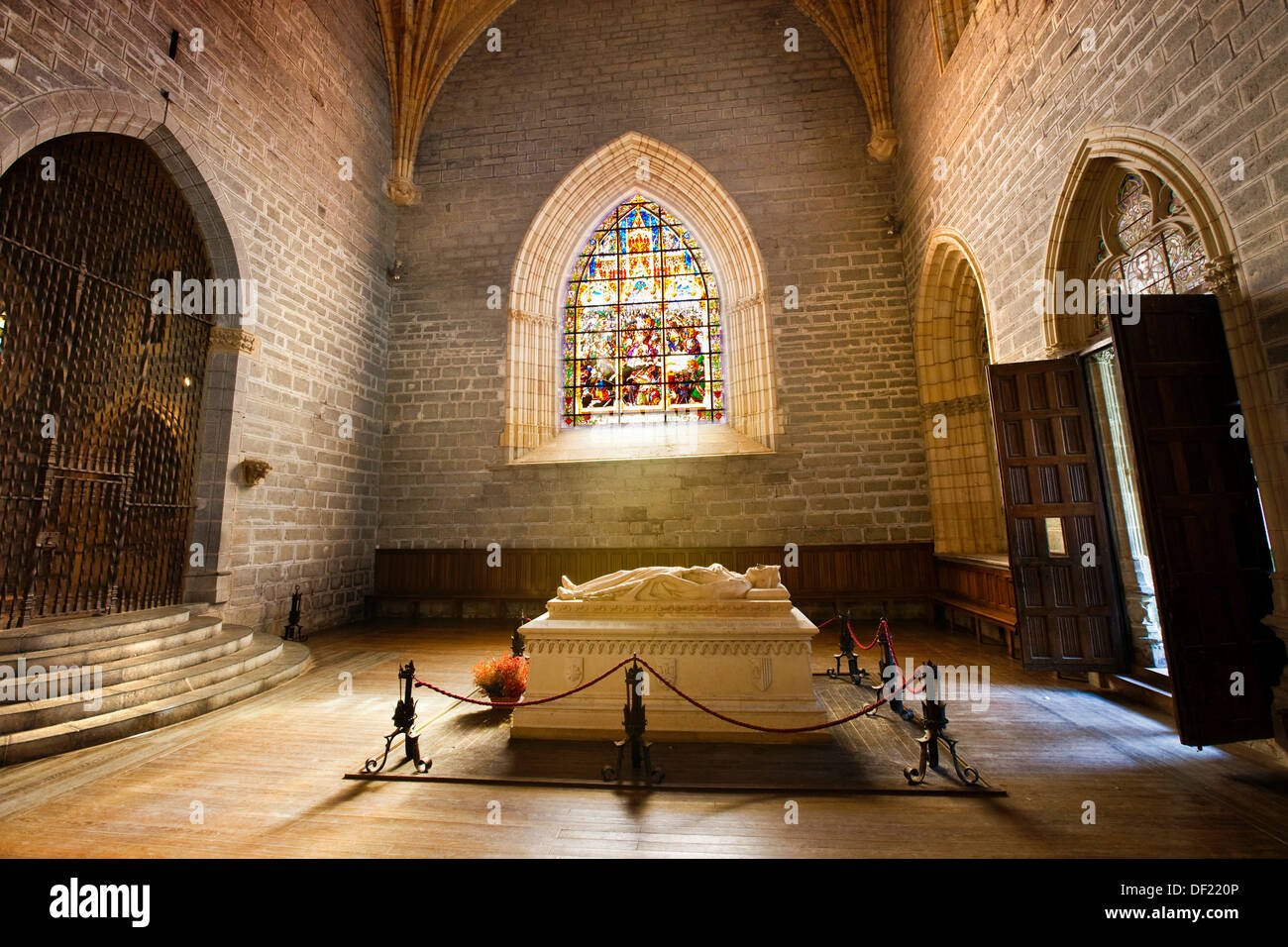 Sepulchre of Sancho VII the Strong in St Mary´s collegiate church, Roncesvalles. Way of St James, Navarra, Spain - Stock Image