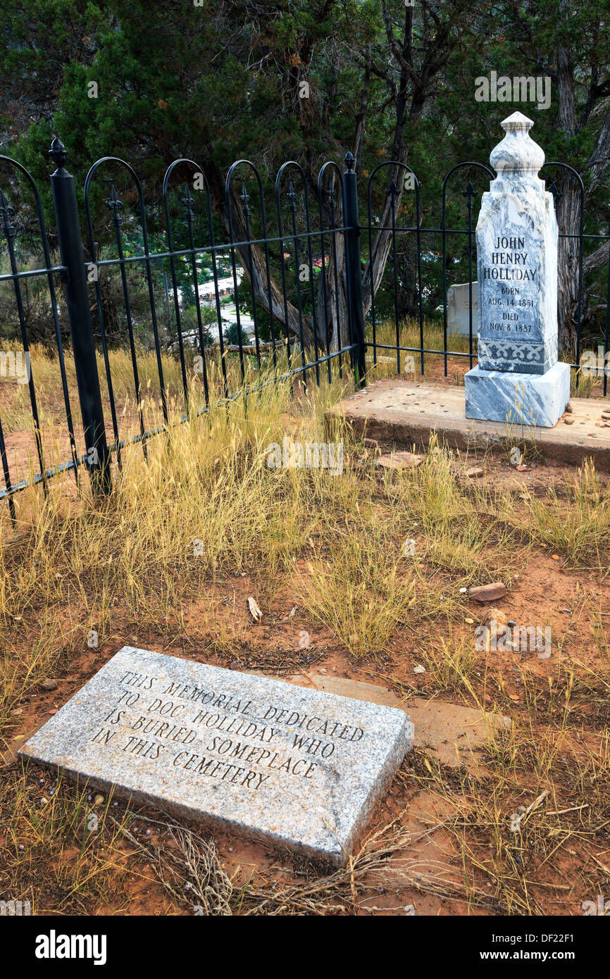 Grave site of John Henry Holliday, AKA Doc Holliday, the gunfighter and friend of Wyatt Earp - Stock Image