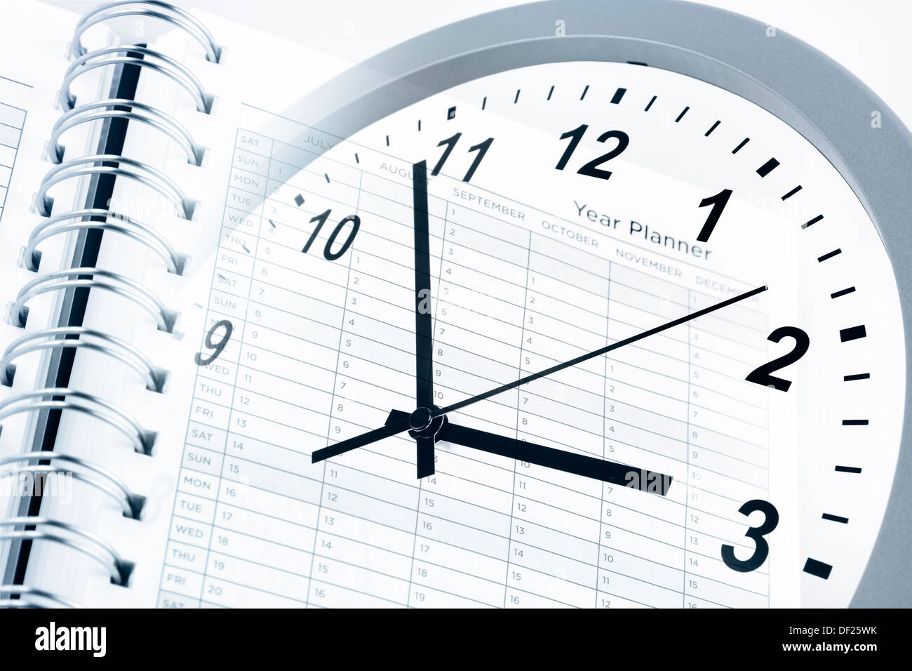 Clock face and year planner Stock Photo