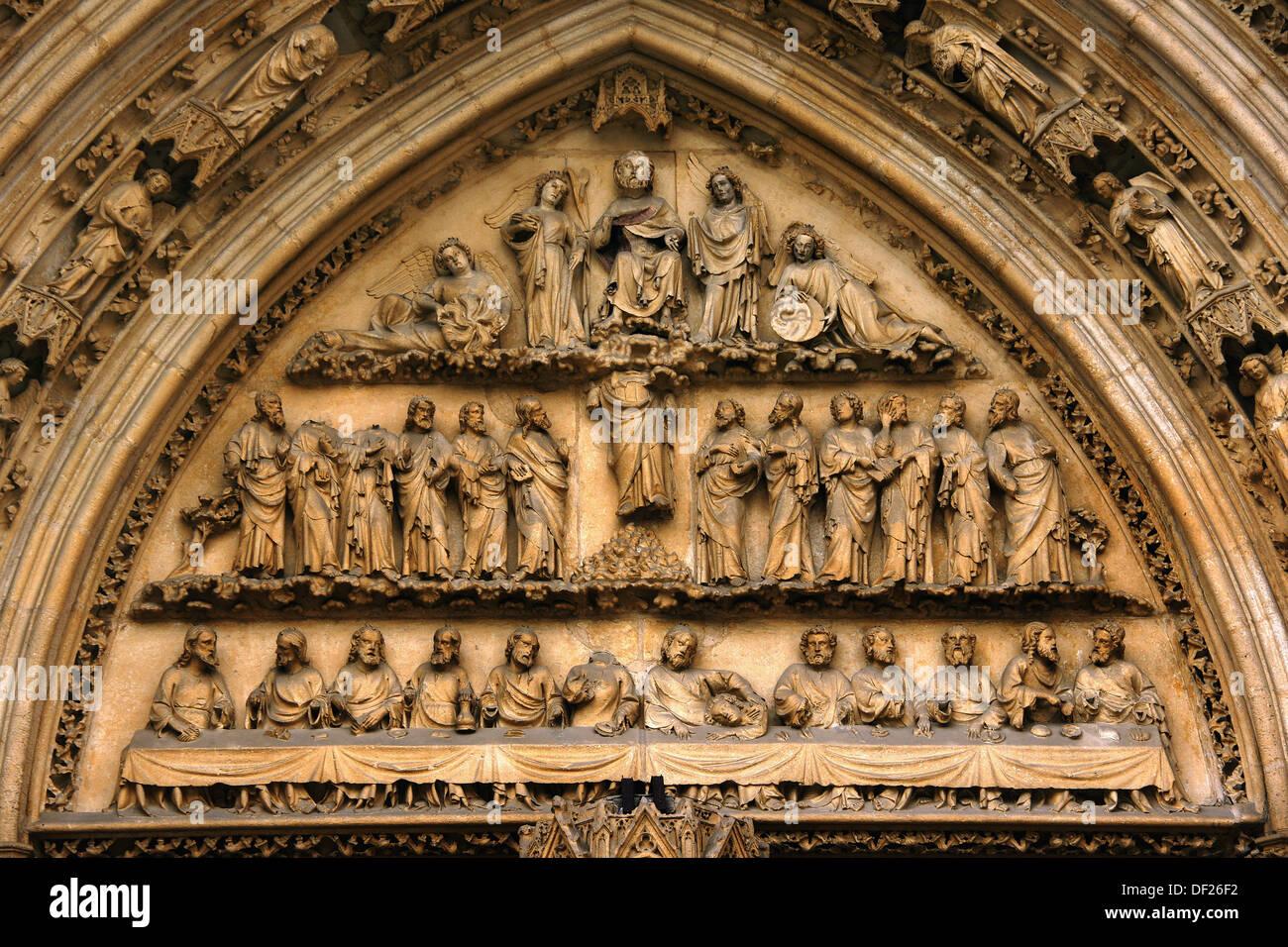 Tympanum of the Porte de la Fleche (14th century), Saint-Andre cathedral, Bordeaux, Gironde, Aquitaine, France Stock Photo