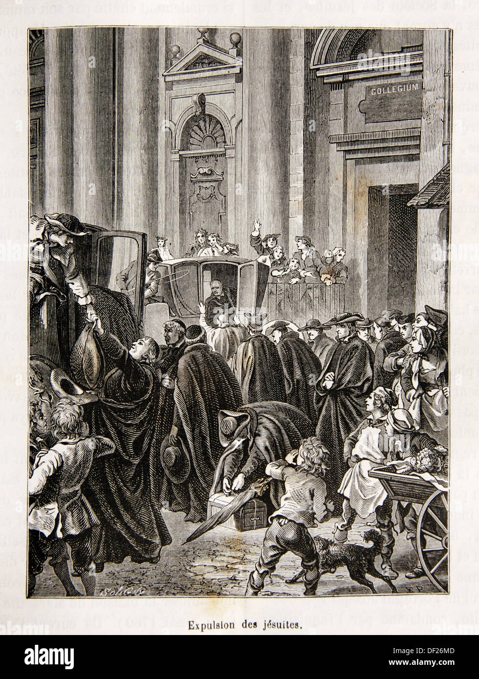 Expulsion of the Jesuit order in 1767, France - Stock Image