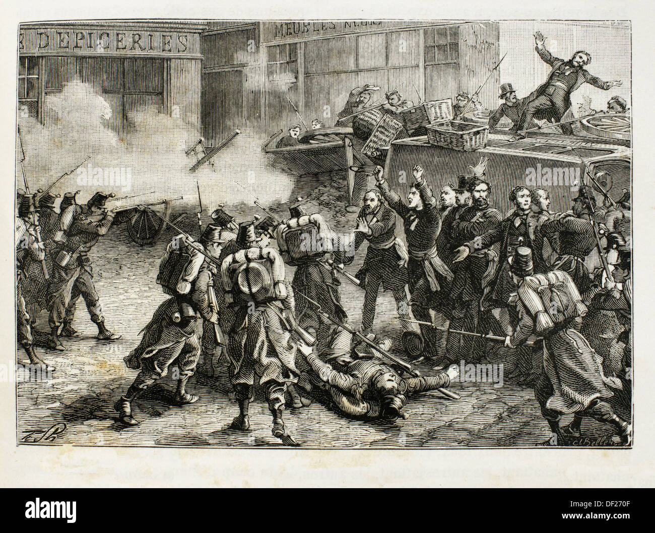 France, History, 19th Century, Death of Baudin at Paris, in 1851 - The  French coup d´état on 2 December, 1851, staged by