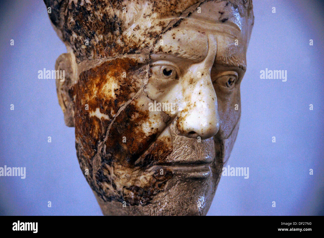 Detail of the bust of Emperor Philip the Arab (3rd century), Museum of Shahba, Hauran, Syria - Stock Image