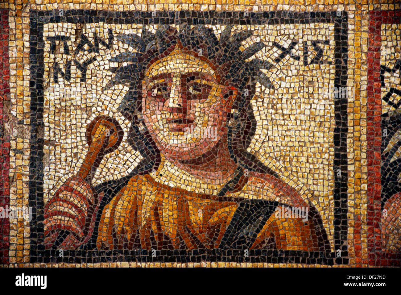 Syria, Hauran, Museum of Shahba: detail of the mosaic of the Four Seasons, 3rd Century - Stock Image