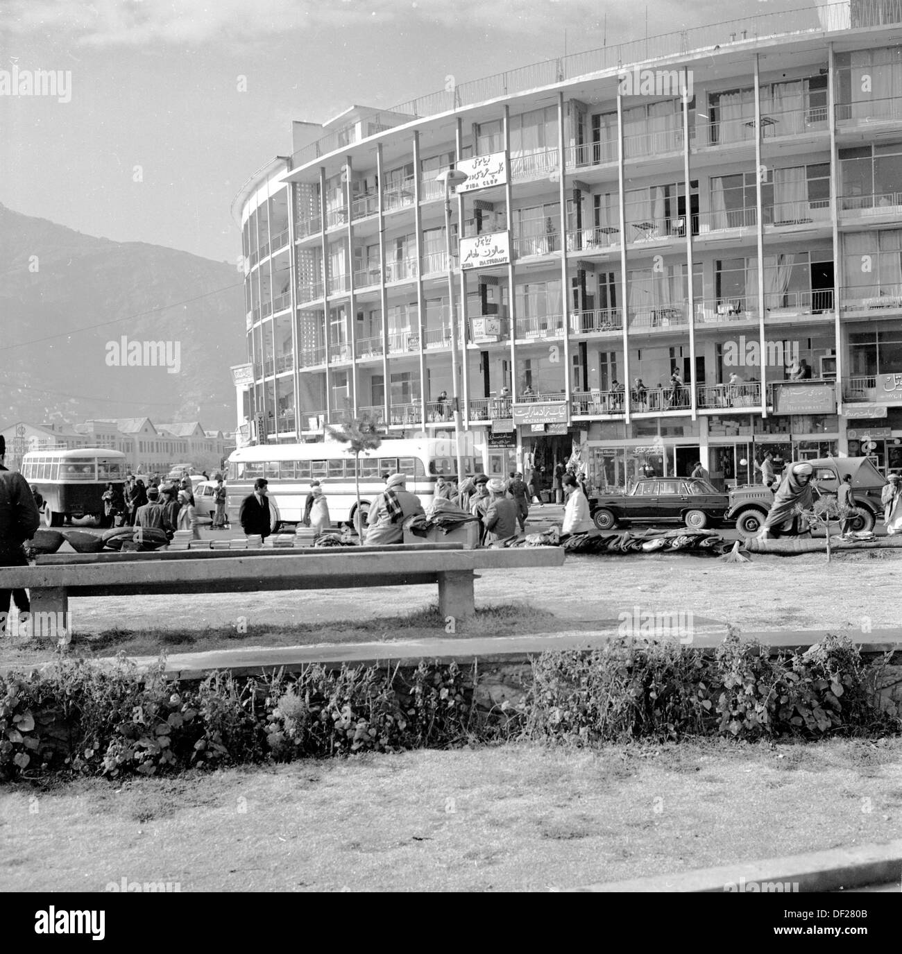 Historical picture from 1950s by J Allan Cash of a building and traffic in the capital city of Kabul, Afghanistan - Stock Image