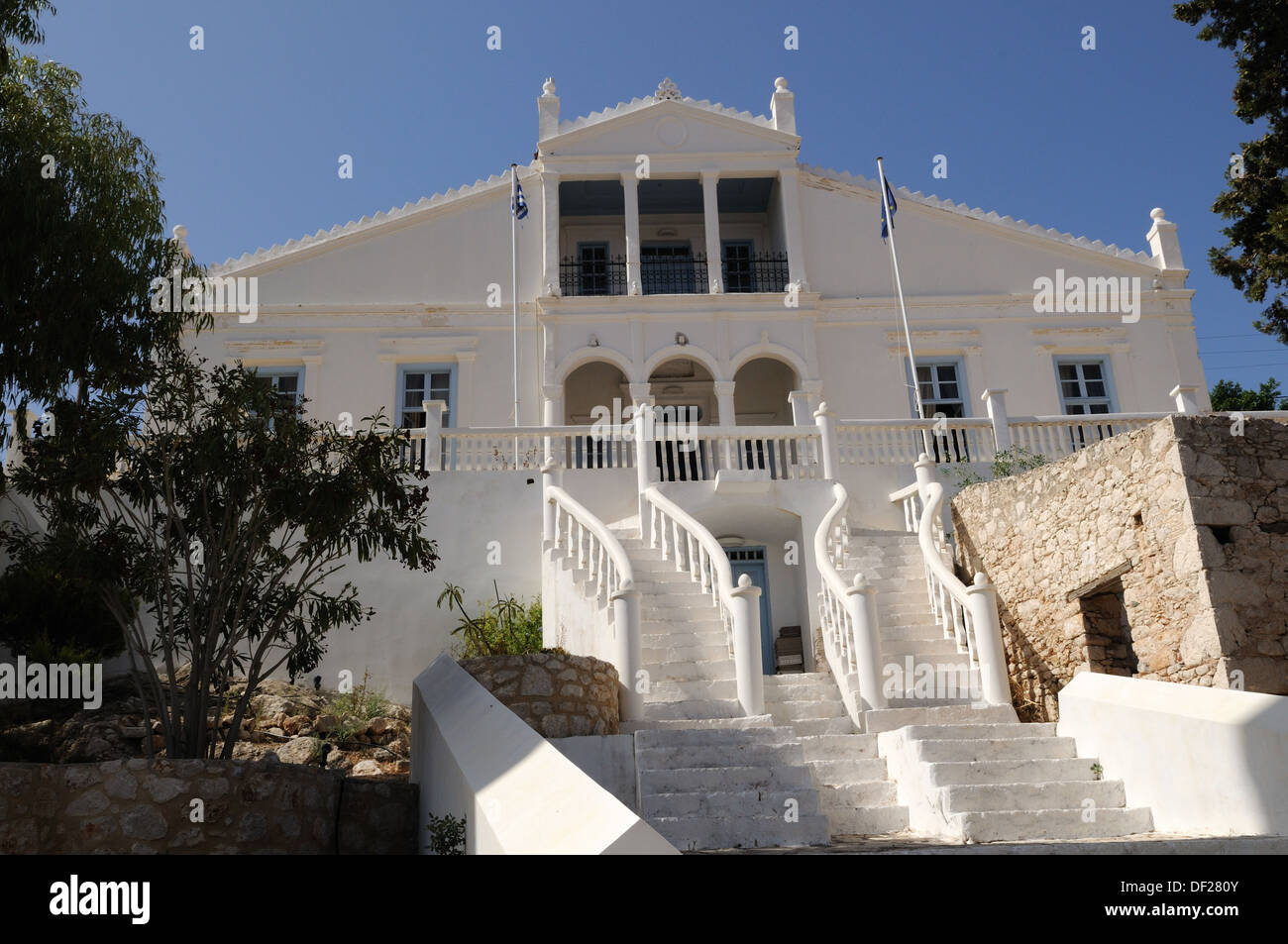 Old Town hall building at Halki Chalki The Dodecanese Greece - Stock Image