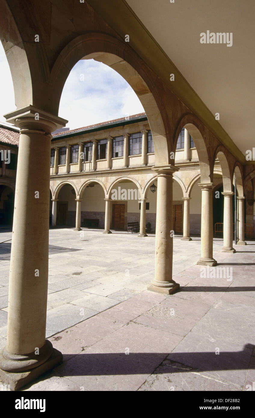 Courtyard of Faculty of Law. University of Oviedo. Oviedo. Spain - Stock Image