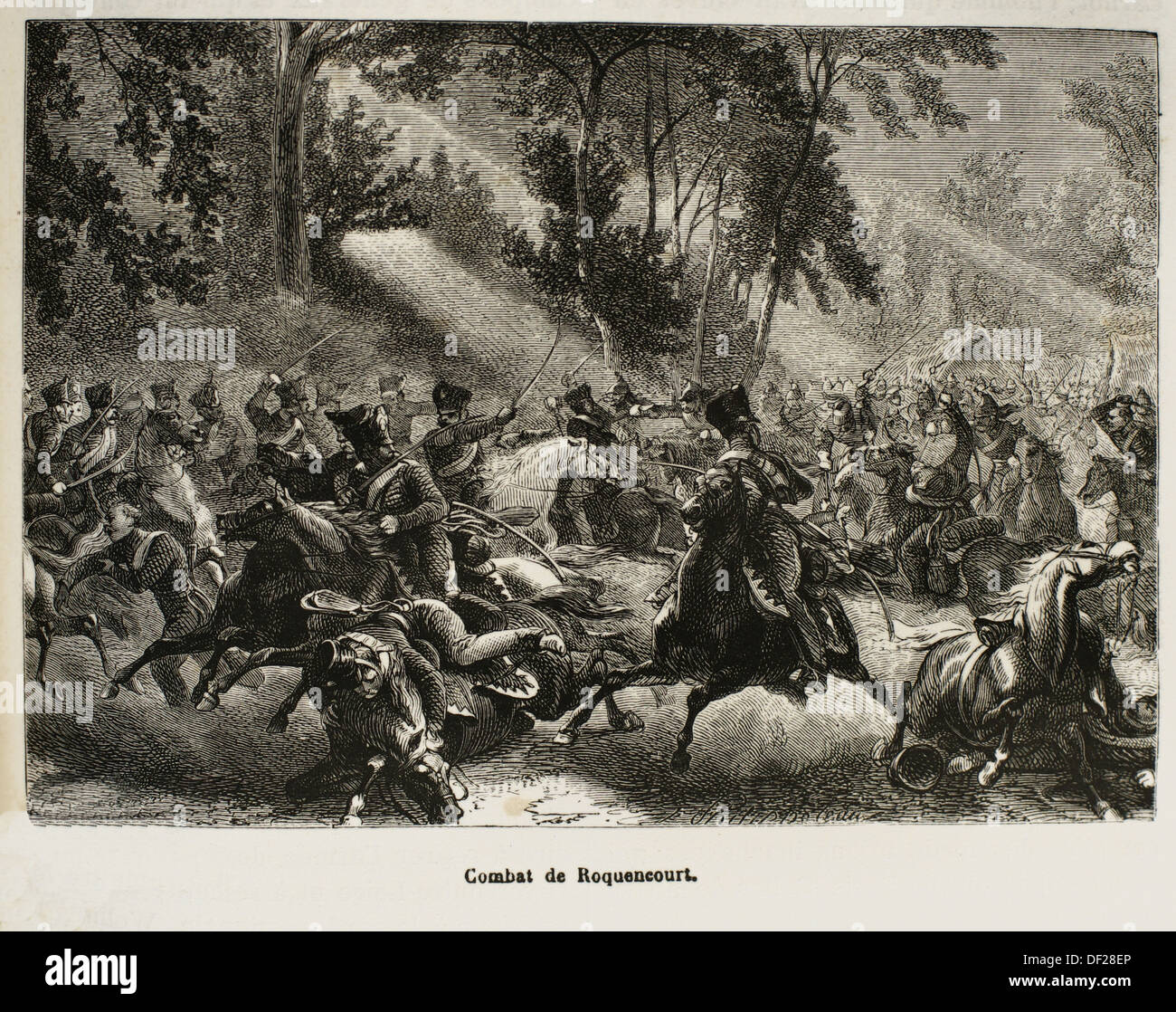 France, History, 19th Century, The Battle of Rocquencourt was a cavalry skirmish fought on 1 July 1815 in and around the - Stock Image
