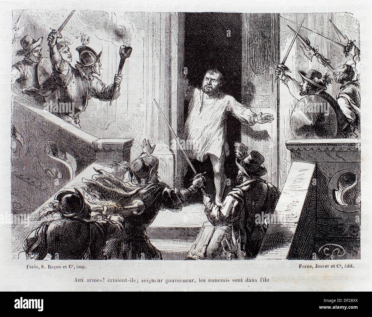 ´Aux armes! criaient-ils, seigneur gouverneur, les ennemis sont dans l´île´, The Ingenious Gentleman Don Quixote of La Mancha - Stock Image
