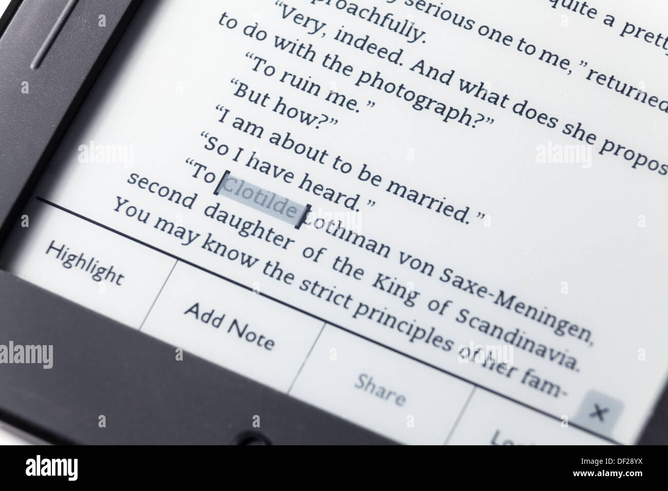 close up highlight add note menu on Nook EReader - Stock Image