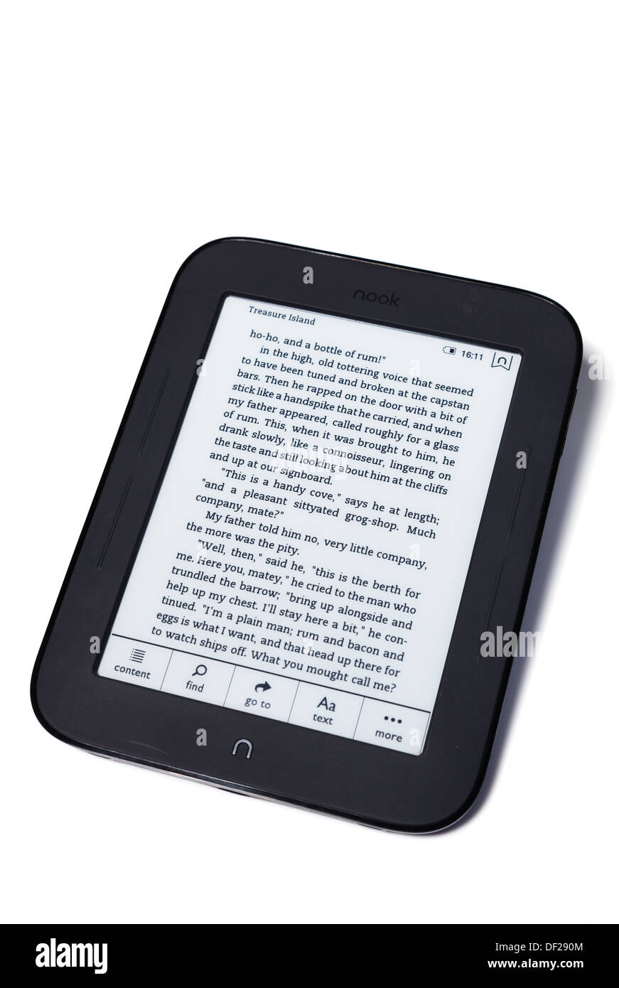 studio nook ereader on white with content find goto menu. - Stock Image