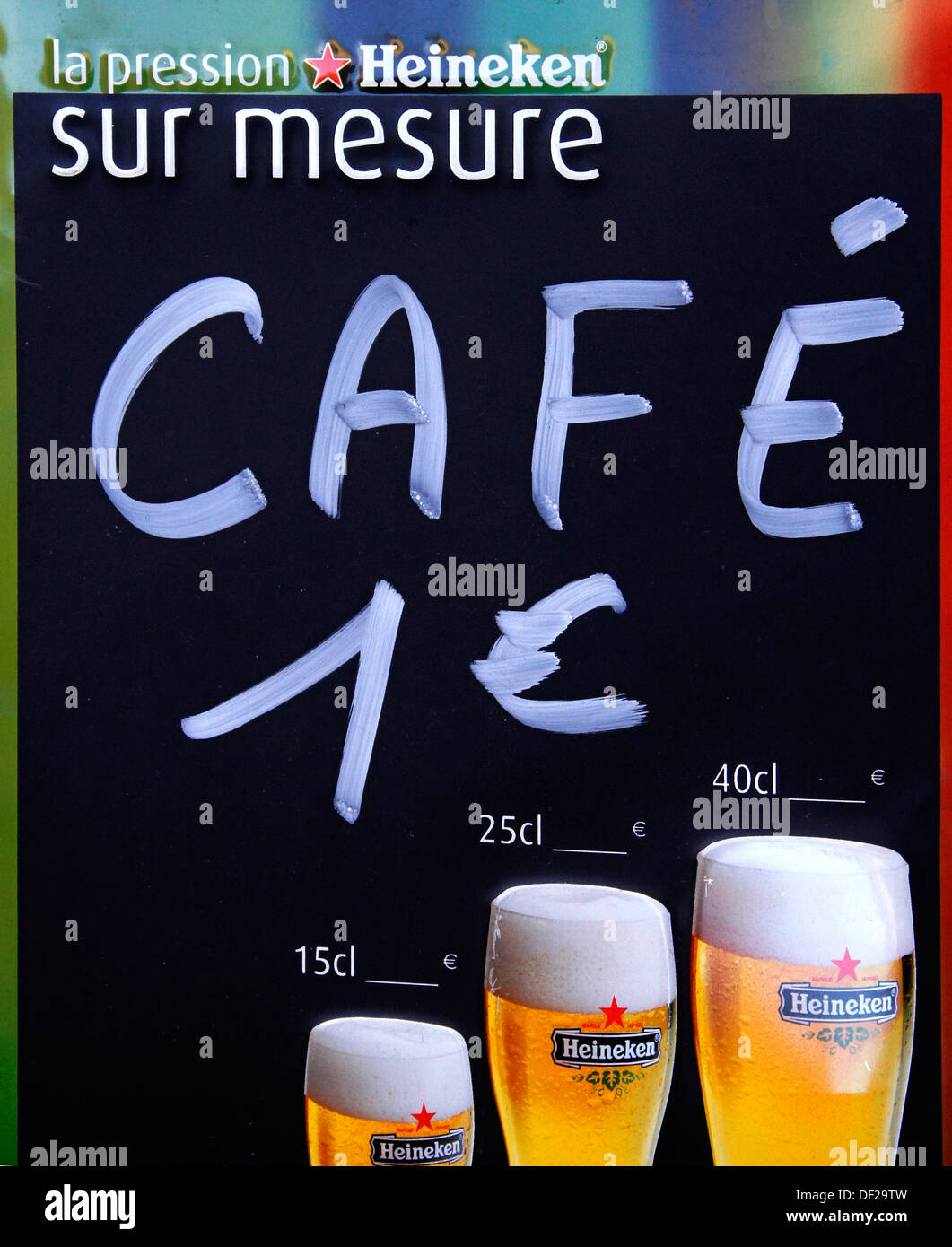 France, Aquitaine, Gironde, Coffee for 1 euro, at Bordeaux. - Stock Image