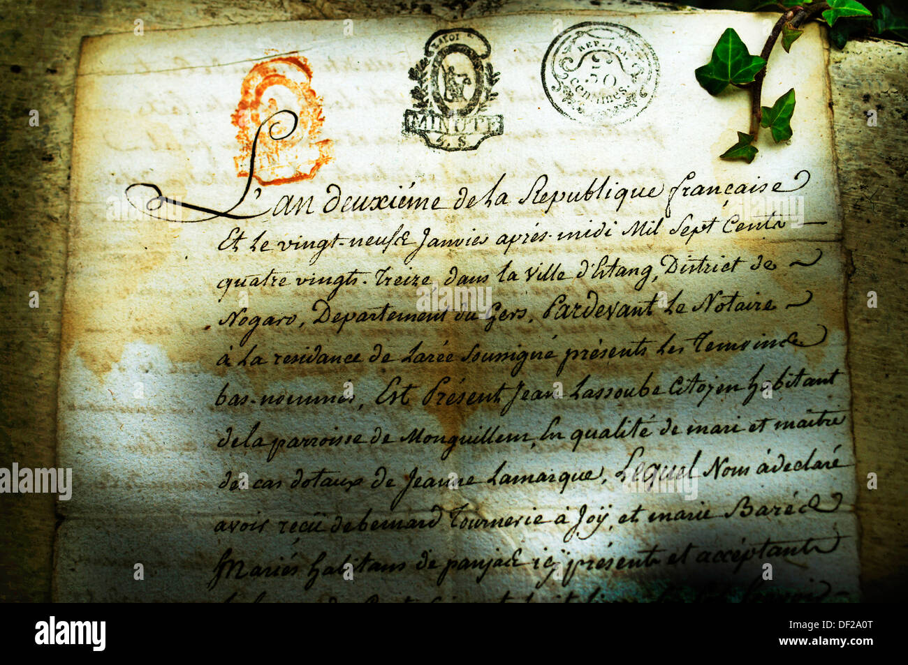 Official paper with the name of Joÿ from year 1793 (year II of the Republique), Domaine de Joÿ wines and armagnac estate at - Stock Image
