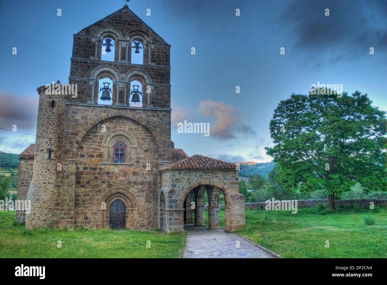 Romanesque Church Of San Salvador De Cantamuda 12th Century Stock