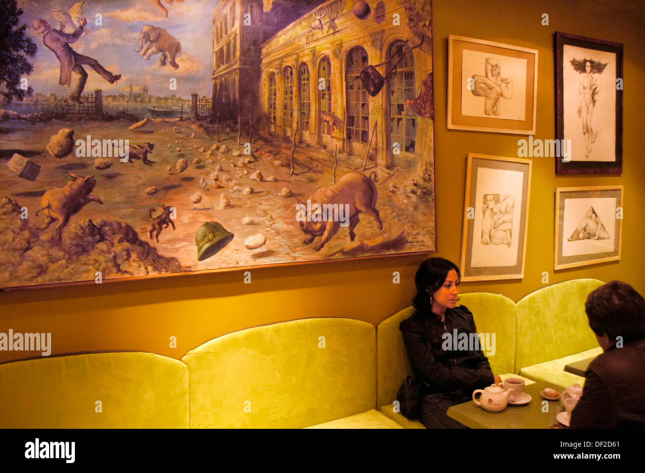 France. Aquitaine. Gironde. Surrealist painting of ´Gare d´Orleans´ at Bordeaux, in the ´Grosse Cloche´ Café on Rue Saint - Stock Image