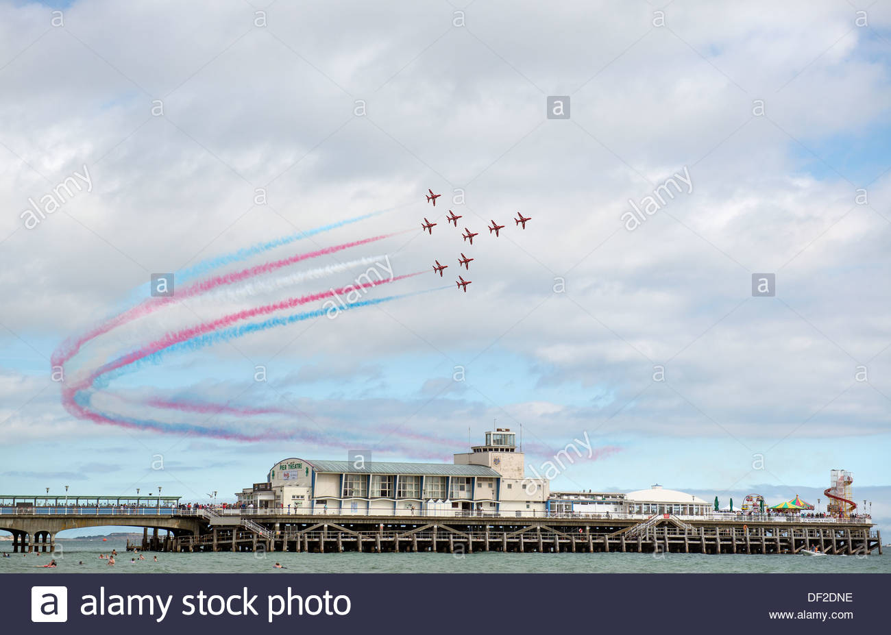Bournemouth Air Festival Dorset UK August 30 2013 The Royal Air Force Aerobatic Team Red Arrows fly over the Bournemouth Pier. - Stock Image