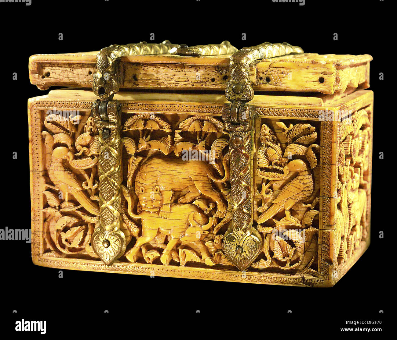 Casket of carved ivory with fittings of gilded bronze (Spain, Cordoba; the last third of the 10th century); The David - Stock Image
